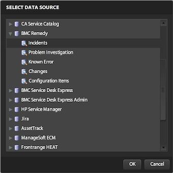 Dashboard designer data source selection