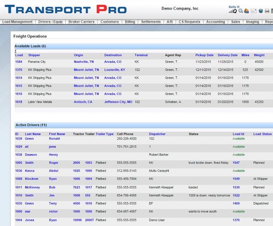 Freight operations dashboard