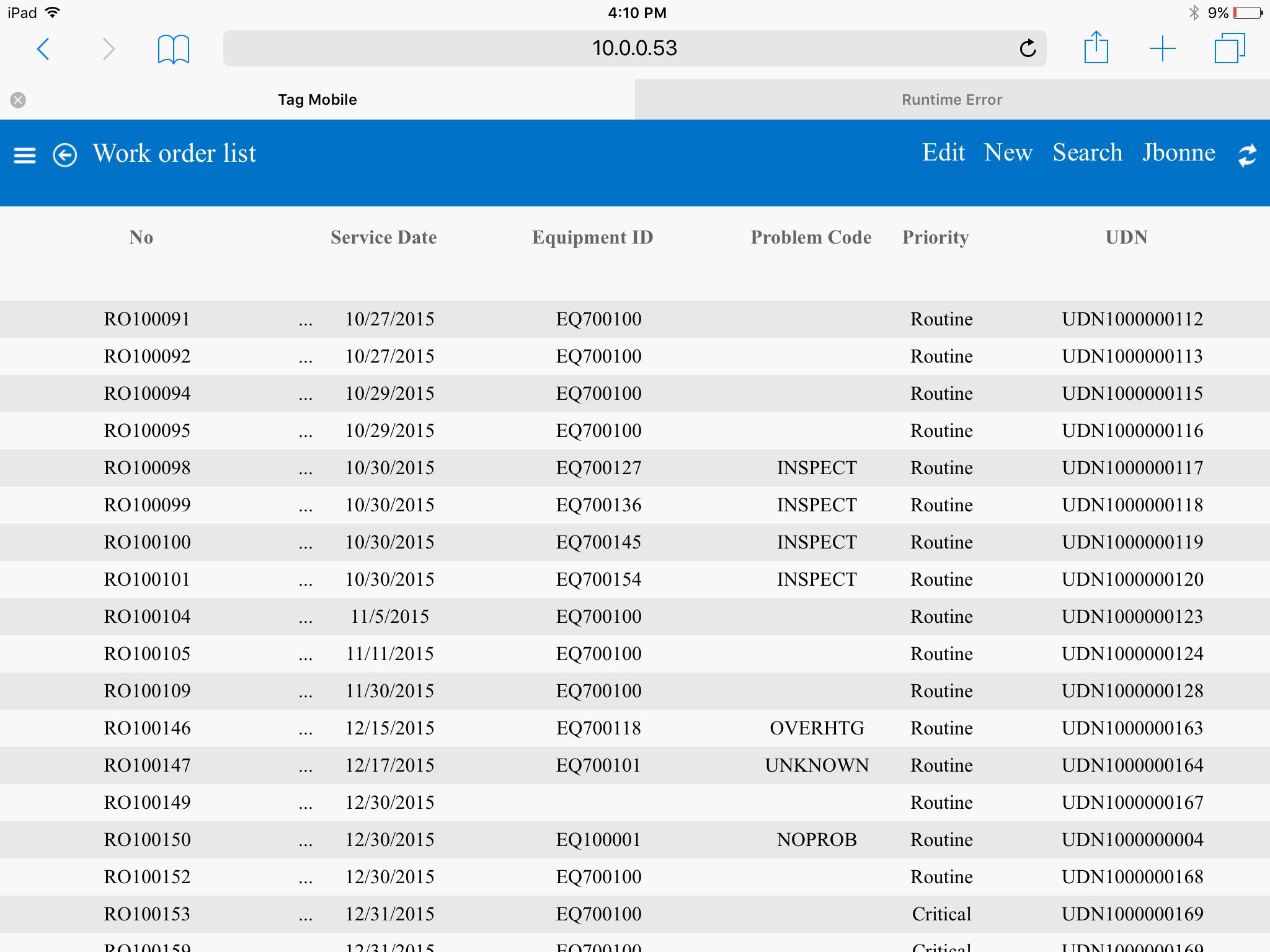 Work order list