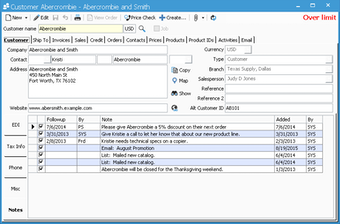 Customer information window