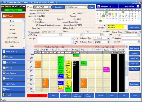 The HindSite Solution - Scheduling Screen