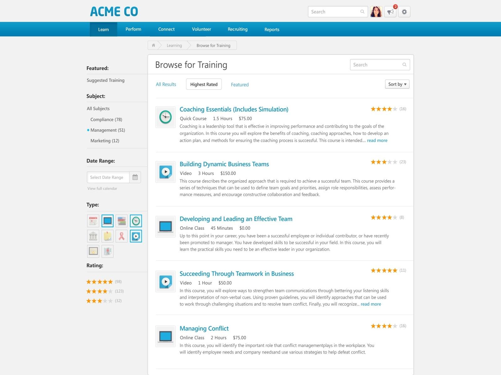 Search training programs