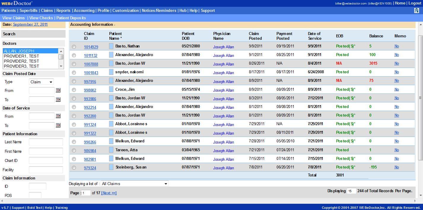 WEBeDoctor's Accounting Module