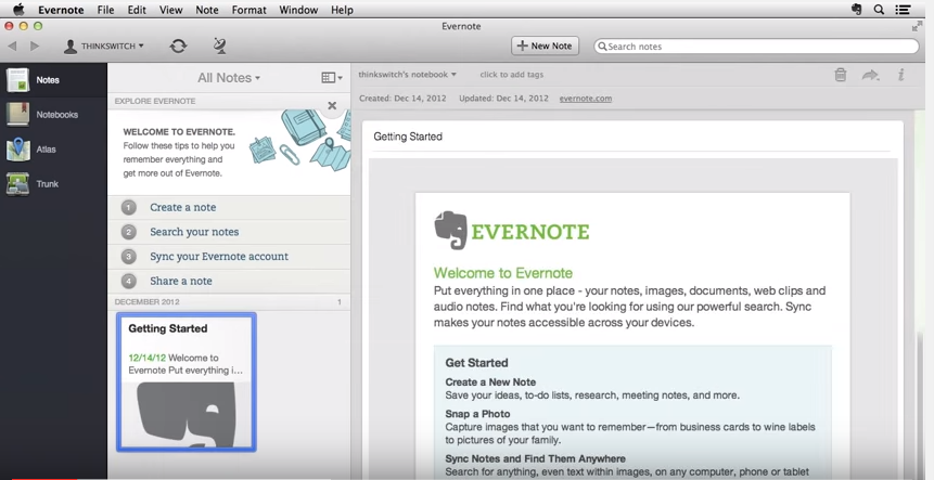 Evernote - Welcome screen