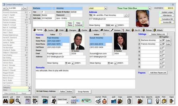 Child and staff information