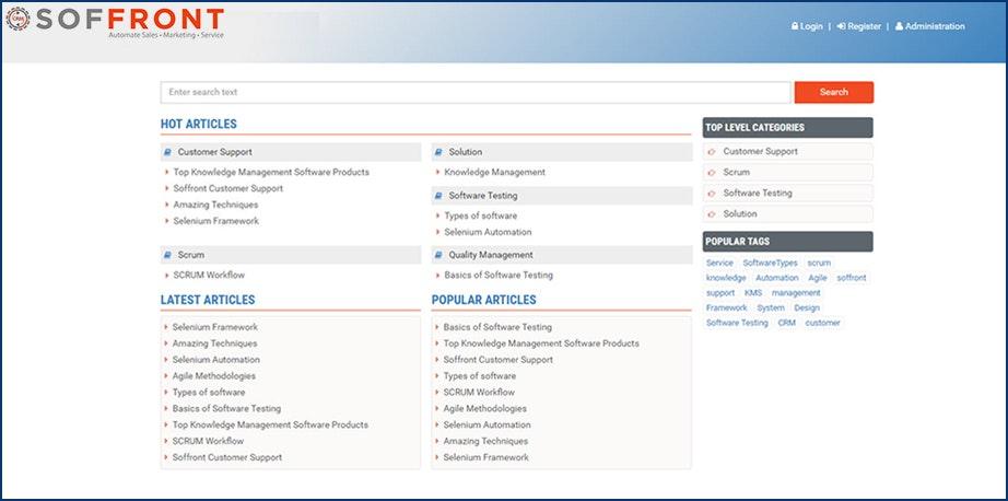 Soffront CRM - Self-Service Knowledge Base