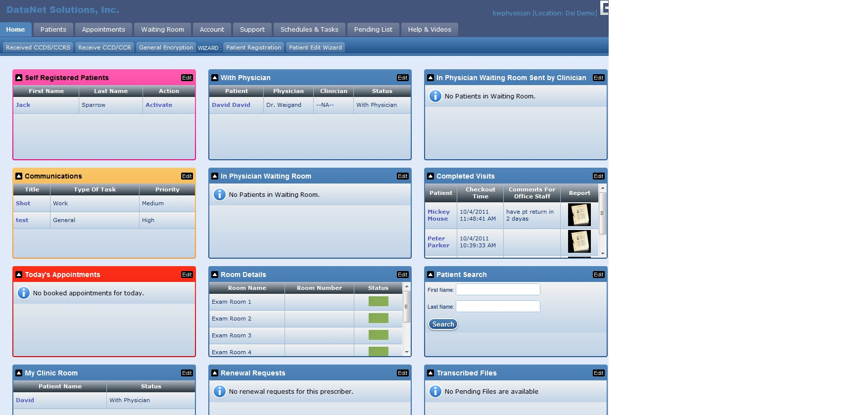 Physician home page