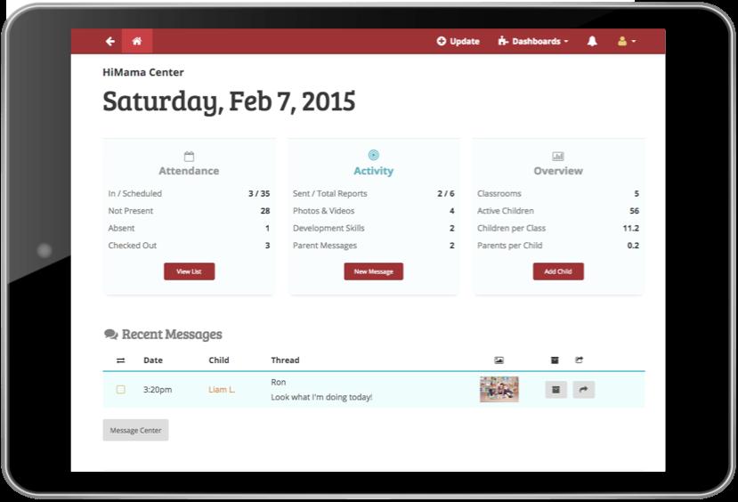 HiMama - Admin dashboard