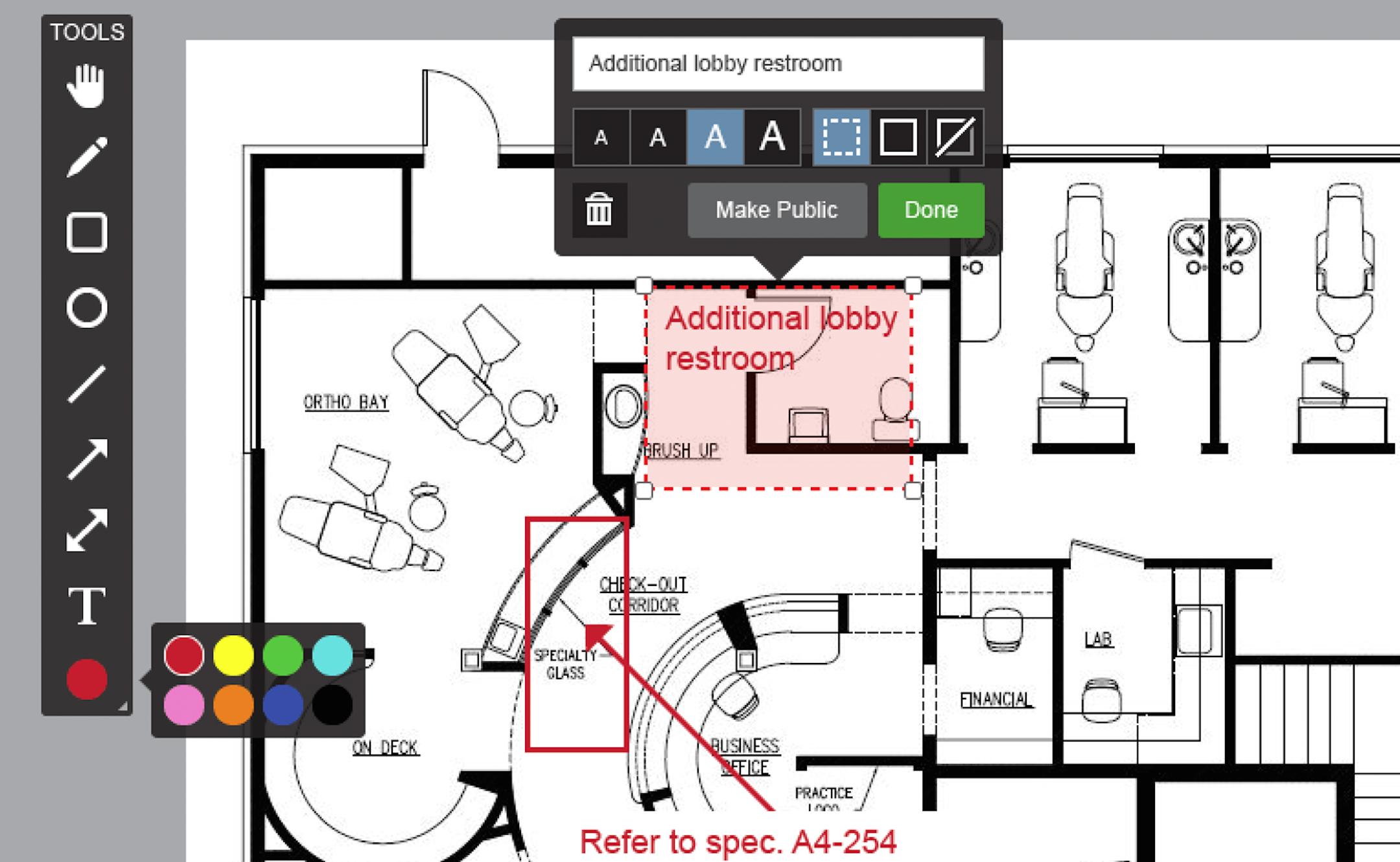 Collaborative planroom markups