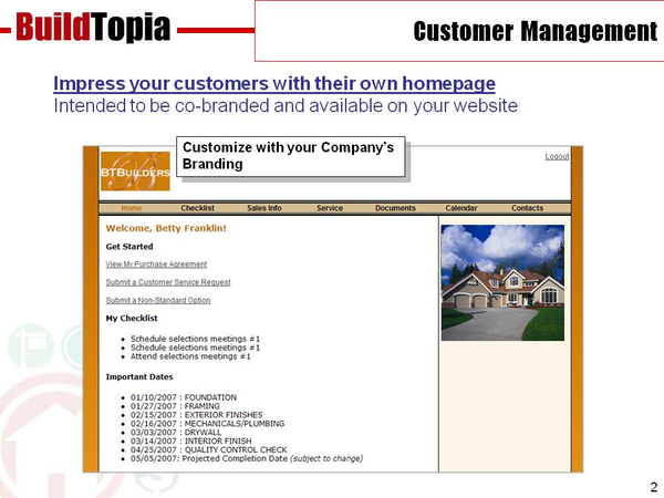 BuildTopia home buyer homepage