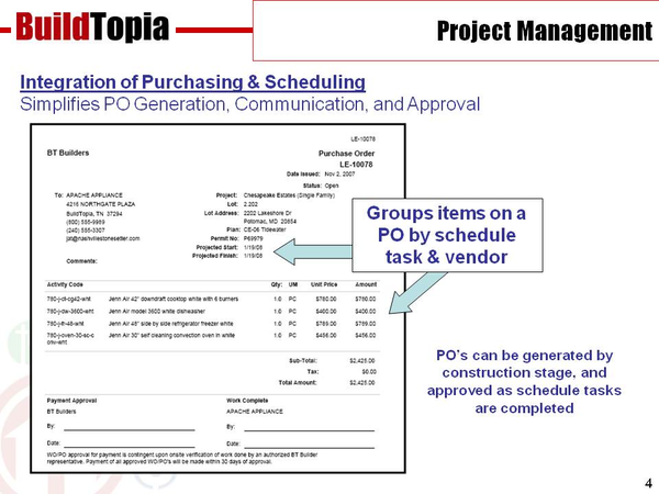 BuildTopia purchase orders