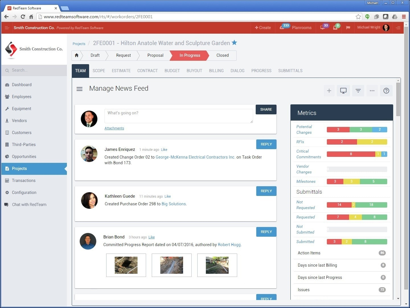 Project news feed and dashboard
