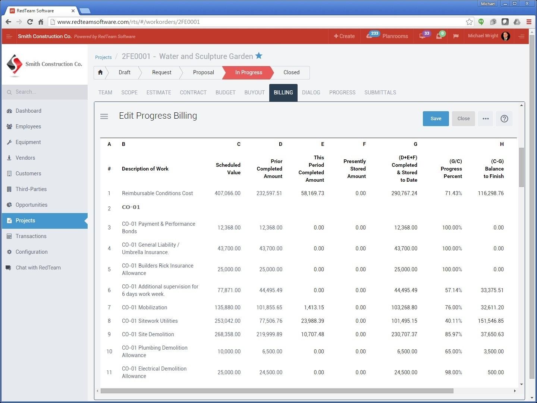 AIA-style progress billing