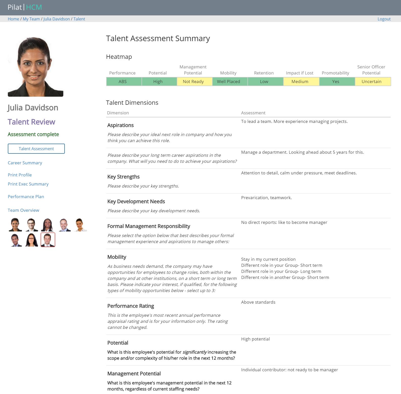 Talent Assessment Summary