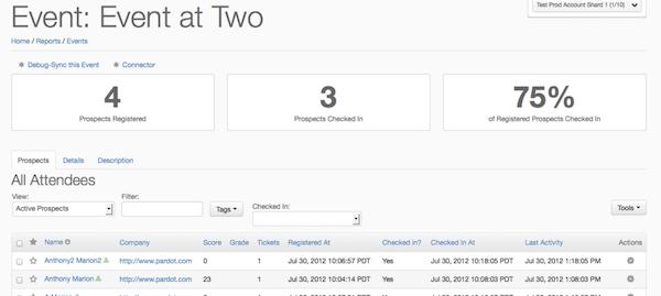 Regpack event statistics screenshot
