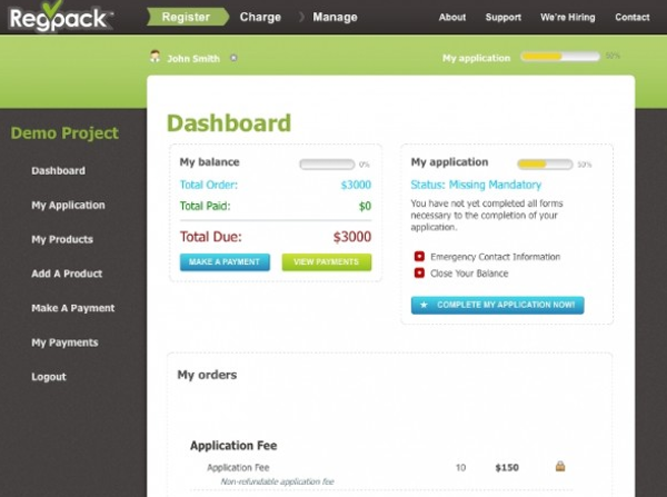 Regpack Dashboard