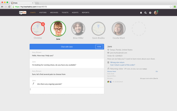 LiveChat chats screenshot