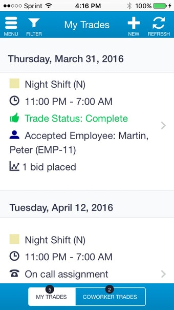 Employees can trade and pickup shifts