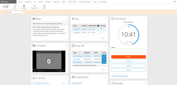 Paylocity - Self-service portal
