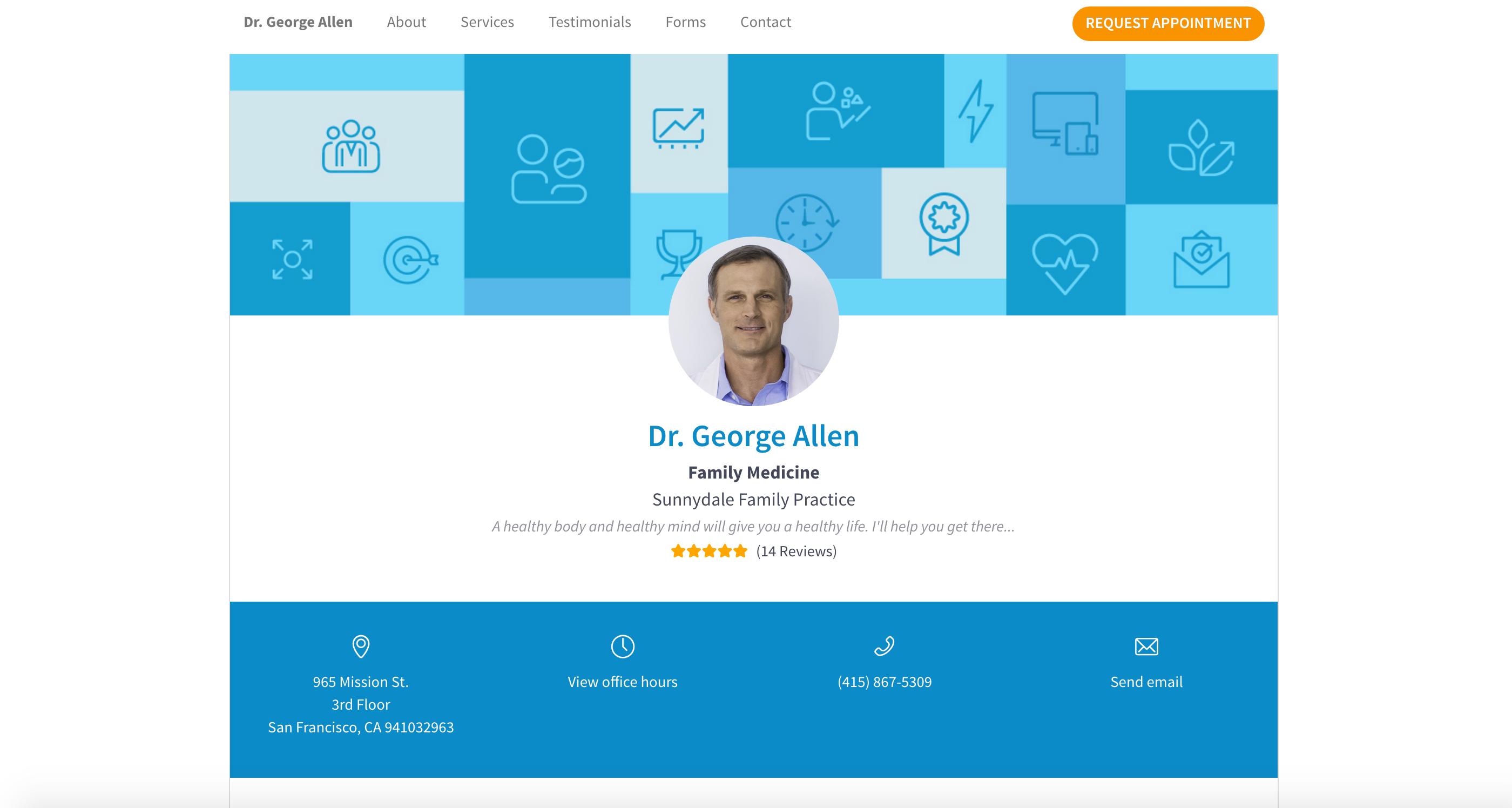 Screenshot of physician details