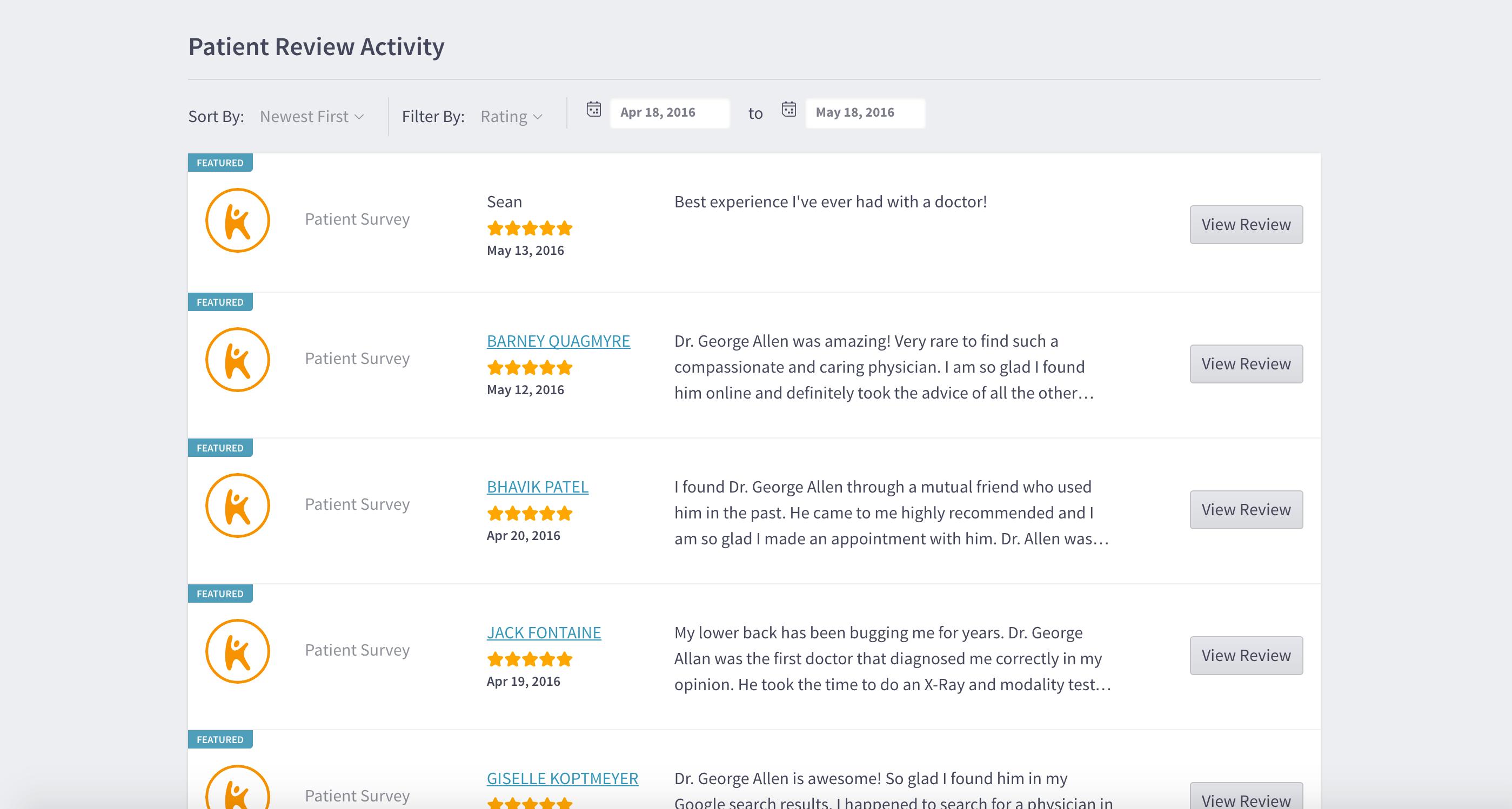 Ptatient review activity