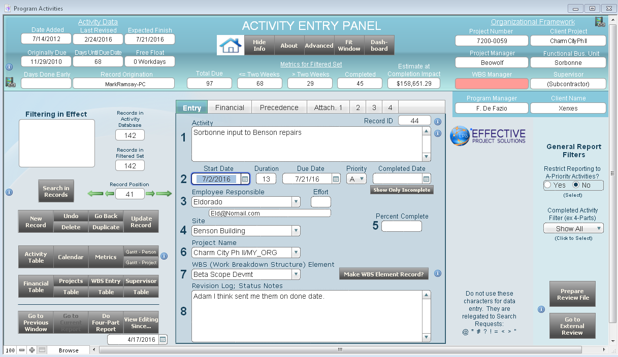 Activity entry panel
