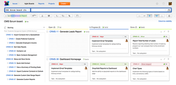 YouTrack agile boards