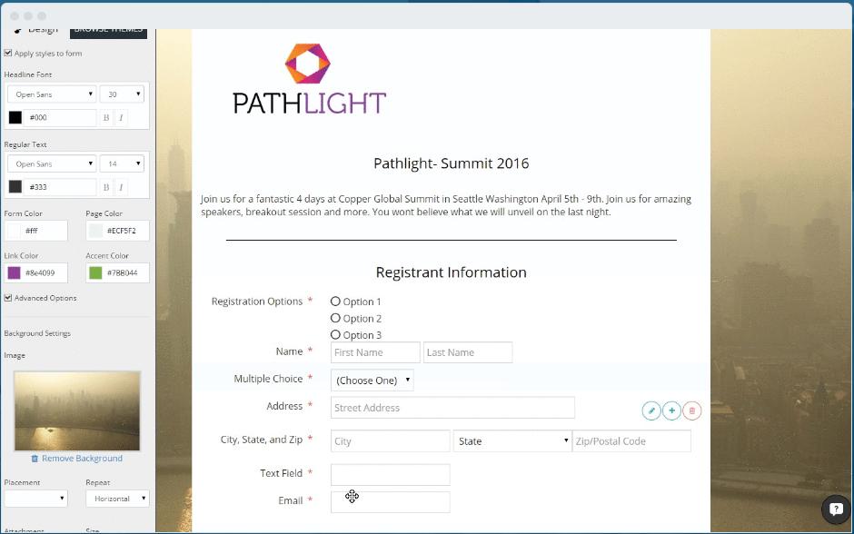 Create registration form