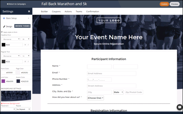 Create registration form