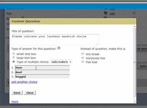 Custom registration form