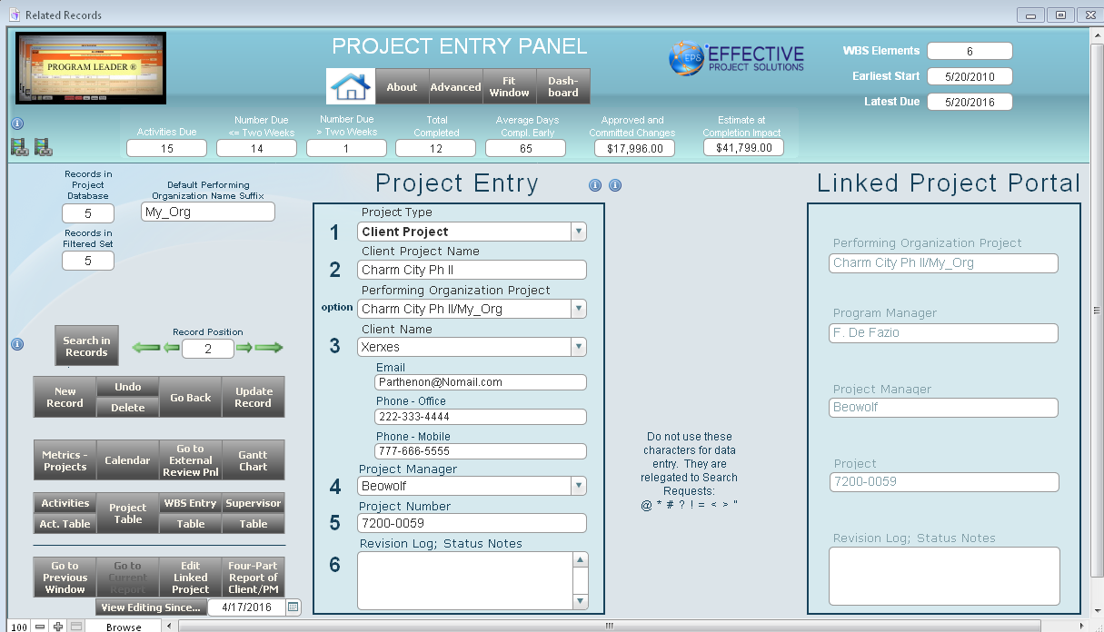 Project entry panel