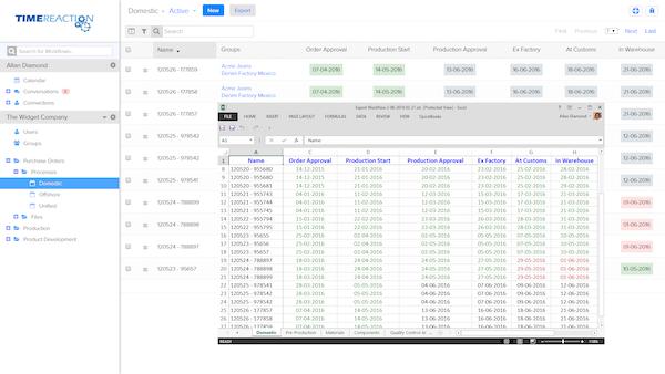 Workflow spreadsheet export
