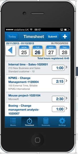 Mobile timesheet