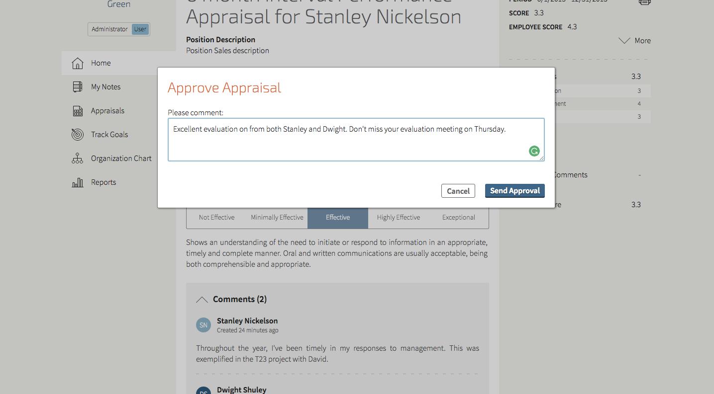 Approve appraisal