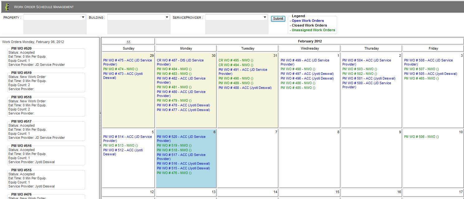 Work Order Scheduler