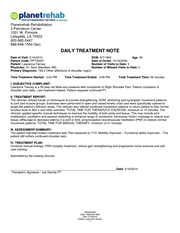 Daily treatment note