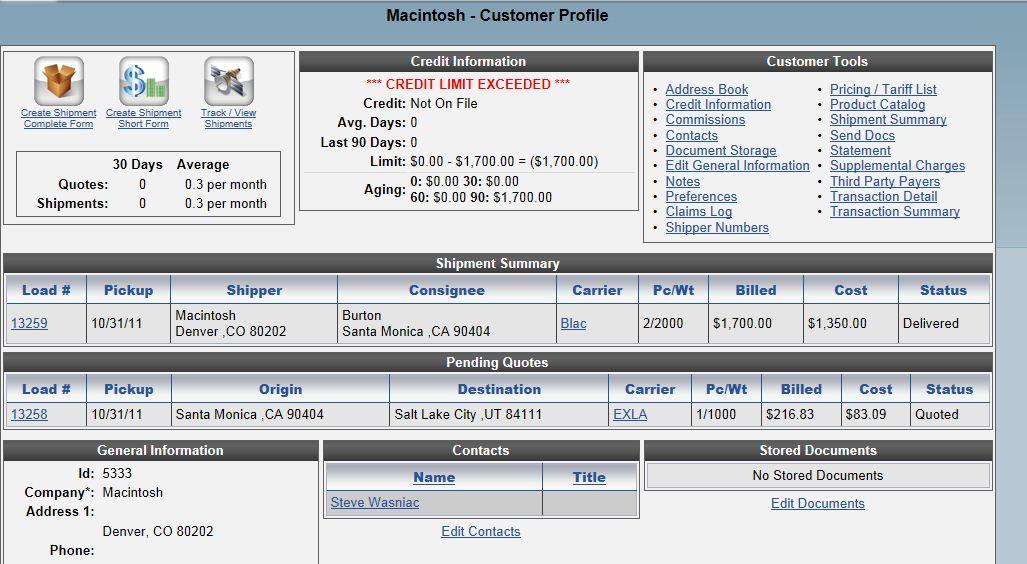 Customer Profile Page