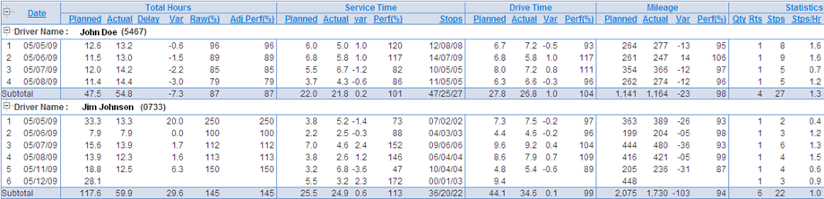 Report Sample: Driver Performance