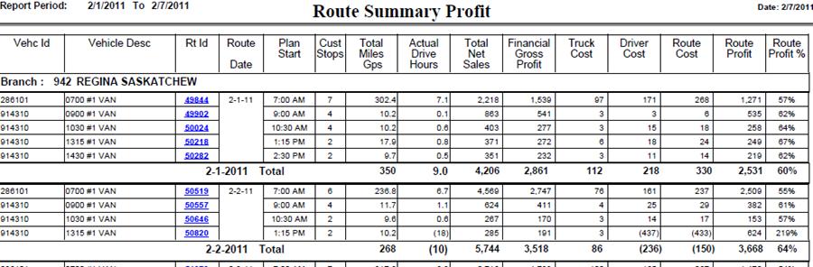 Report Sample: Route Profitability