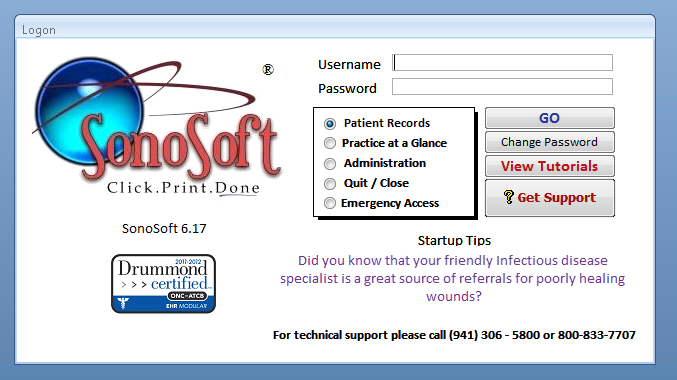 SonoSoft - SonoSoft Logon