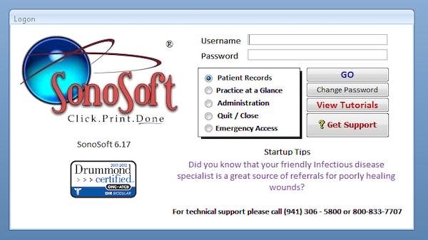 SonoSoft Logon