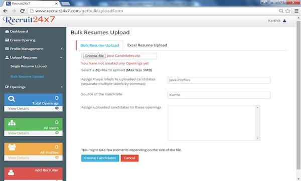 Candidates bulk upload