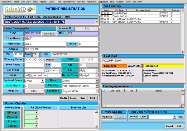 New Patient Registration Screen