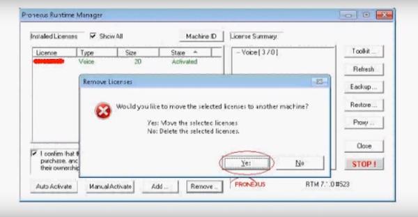 Pronexus VBVoice moving licenses screenshot