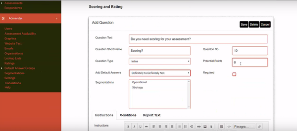 Brilliant Assessments scoring and rating screenshot