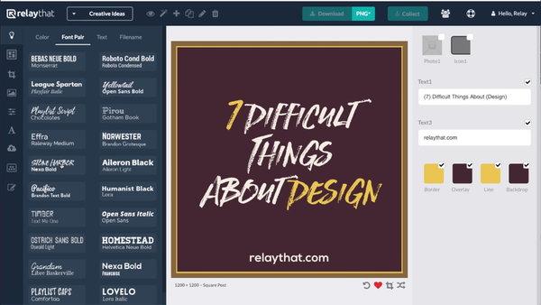RelayThat font selection