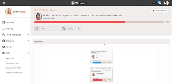 Workteam OKR personal goal management screenshot