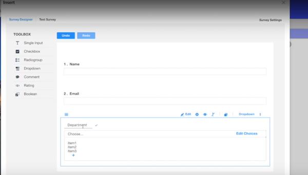 Newired survey designer screenshot