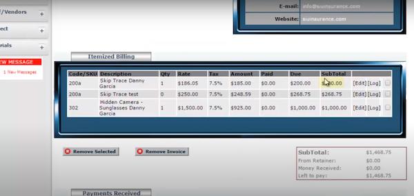 VCM itemized billing
