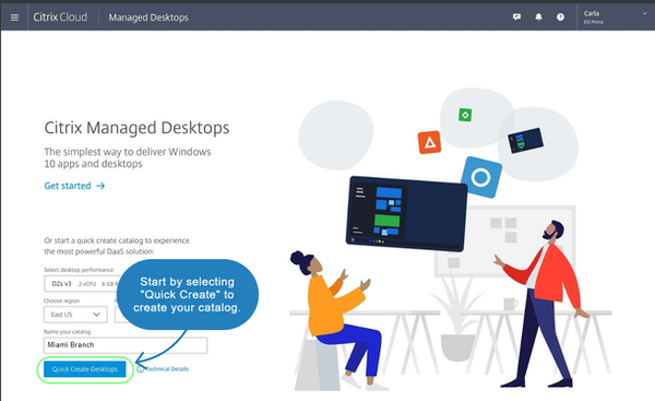 Citrix Managed Desktops create catalogs